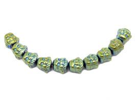 Hämatit Buddha-Kopf ca. 8x8x7 mm gold-blaugrün Buddha-Perlen - Set (10 Stück)
