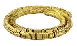 Hämatit matt goldene sechseckige Scheiben / Heishi Perlen ca. 6x1 mm - Strang