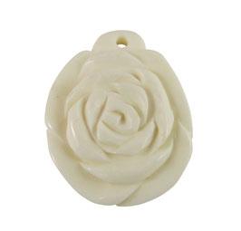 """Rose"" - Anhänger aus Knochen ca. 28x22x5 mm Perle"