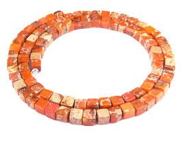 Impressionen Jaspis orangerote Würfel ca. 4 mm - Strang