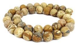Landschaftsjaspis mattierte Kugeln 10 mm Perlen - Strang