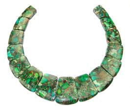 Impressionen Jaspis Komposition mit Pyrit blaugrünes Trapez-Scheiben gestaffelte Größe -  Set / Strang