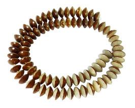 Bulipalmfrucht Perlen Rondelle halb natur halb poliert ca. 10x5 mm - Strang