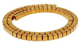 Hämatit Würfel hell kupfer / rotgold 4 mm Perlen Strang