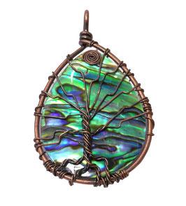 Abalone Anhänger Lebensbaum mit Spirale ca. 60 x 35 mm