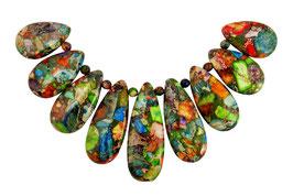 Impressionen Jaspis bunte Komposition mit Pyrit Tropfen-Perlen-Set