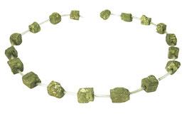 Pyrit würfelförmige Natur-Nuggets ca. 8 - 10 mm - Strang