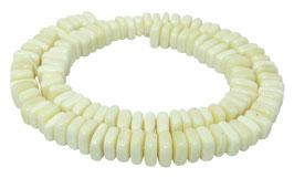 Knochen-Perlen rechteckige Scheiben / Heishi ca. 8x10x3 mm - Strang