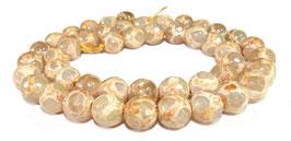 Achat DZI Beads orange-braune facettierte Kugeln mit Muster 8 mm - Strang