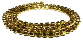 Hämatit goldfarbene hexagonale Perlen ca. 3,5 x 4 mm – Strang