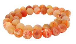 Drusenachat orange Kugeln z.T. mit Drusen Kristallen 10 mm - Strang