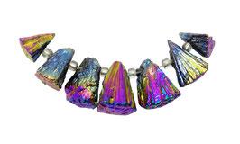 Pyrit bunt galvanisiertes Perlen Set kegelförmige Nuggets