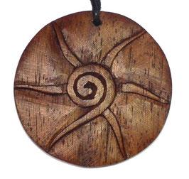 Sonnenspirale Symbol für Schöpfung und Lebenskraft Holzanhänger ca. 4 cm