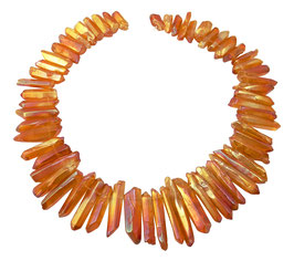 Bergkristall Spitzen Nuggets orange-rot irisierend Edelstein-Perlen Strang