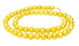 Süßwasserperlen ca. 7x6 mm Nuggets gold-gelbe Perlen Muschelperlen Strang