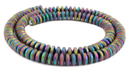Hämatit Rondelle matt Regenbogenfarben ca. 6x3 mm - Strang