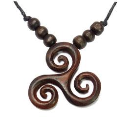 """Triskele - Anhänger """"Spirale des Lebens"""" Halskette aus Holz keltischer Schmuck"""