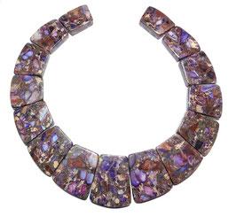 Impressionen Jaspis Komposition mit Pyrit violette Trapez-Scheiben gestaffelte Größe -  Set / Strang
