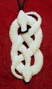 Großes Schlangen Amulett aus Knochen < zwei verschlungene Schlangen > ~ Handarbeit ~