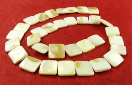 Süßwassermuscheln Perlen weiß-braune Quadrate 12mm - Strang