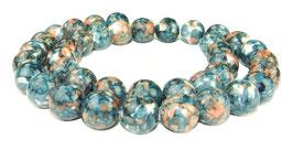 Cloisonné Perlen Kugeln blau mit orange 10 mm - Strang