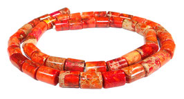 Impressionen Jaspis Walzen orange-rot ca. 8x6 mm - Strang