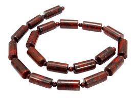 Roter Breckzienjaspis Walzen 16x8 mm & 4 mm Kugeln - Strang