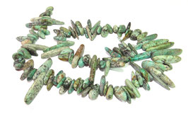 Afrikanischer Türkis lange Splitter-Nuggets ca. 10-25 mm - Strang