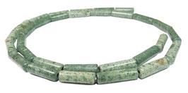 Afrikanischer grüner Jaspis Röhrchen / Walzen ca. 4x13 mm - Strang