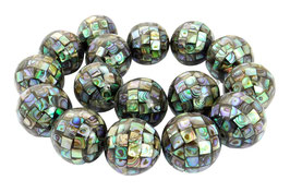 Große Abalone Mosaik-Kugeln 25 mm XXL Perlen (Perlmutt / Paua) - Strang