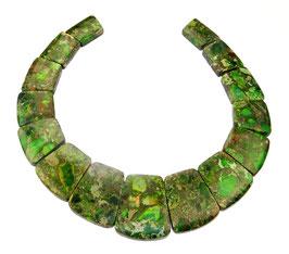 Impressionen Jaspis Komposition mit Pyrit grünes Trapez-Scheiben gestaffelte Größe -  Set / Strang