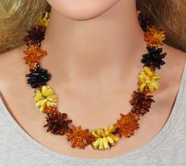Bernstein Halskette vierfarbige Blumen-Kette