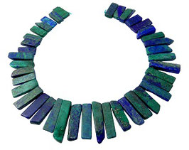 Lapislazuli grün - blaue quaderförmige Scheiben-Nuggets Perlen Strang