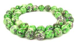 Cloisonné Perlen Kugeln grün mit lila 10 mm - Strang