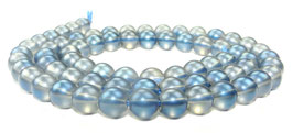 Bergkristall Kugeln matt blau-schwarz 6 mm - Strang