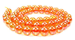 Bergkristall Kugeln rot-orange irisierend 8 mm - Strang