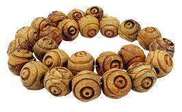 Olivenholz gravierte Kugeln mit Kreismuster ca. 15 mm - ca. 25 Holzperlen