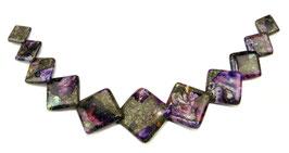 Impressionen Jaspis Komposition mit Pyrit lila Quadrate gestaffelte Größe Perlen - Set