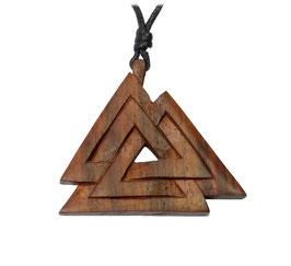 Valknut Wotansknoten Holz Anhänger Amulett altes germanisches Symbol