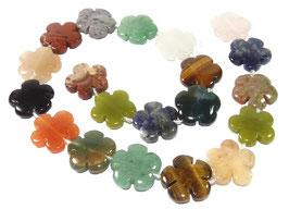 Verschiedene Edelsteine Blumen Perlen ca. 15 mm - Strang