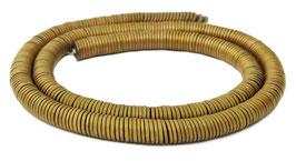Hämatit dünne runde Scheiben matt gold ca. 6x1 mm Heishi-Perlen - Strang