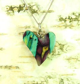 Heidekraut geschwungenes Herz-Anhänger an Sterling-Silber Halskette