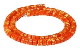 Impressionen Jaspis orange Räder ca. 6x3,5 mm Heishi - Perlen Strang