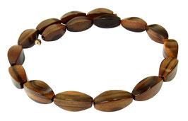 Tiger-Ebenholz (heller) vierseitige Oliven 23x10 mm Holzperlen Strang