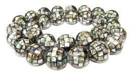 Abalone Mosaik-Kugeln 14mm Perlen (Paua / Seeohren / See-Opal / Perlmutt) - Strang