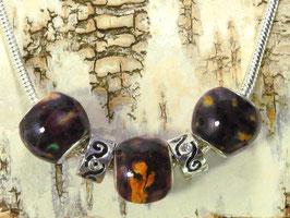 Heidekraut Rondelle - Perlen an versilberter Halskette