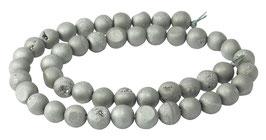 Drusenachat matt silber-graue Kugeln z.T. mit Kristallen 8 mm Achat - Strang