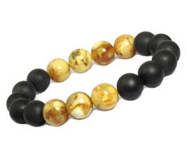 Bernstein Armband in Frauen- & Männer-Größe: Farb-Kombination schwarz mattiert & cremefarben glänzend