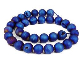 Drusenachat matt blaue Kugeln z.T. mit Kristallen 12 mm - Strang