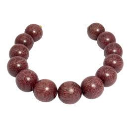 Purpur Herzholz Kugeln 15 mm - 13 Perlen